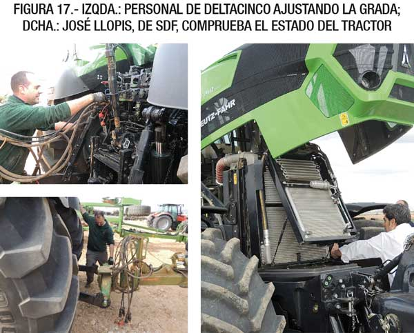 IzQda.: Personal de Deltacinco ajustando la grada; Dcha.: José Llopis, de SDF, comprueba el estado del tractor