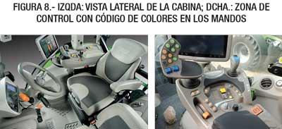 Figura 8.- IzQda: Vista lateral de la cabina; Dcha.: Zona de control con código de colores en los mandos