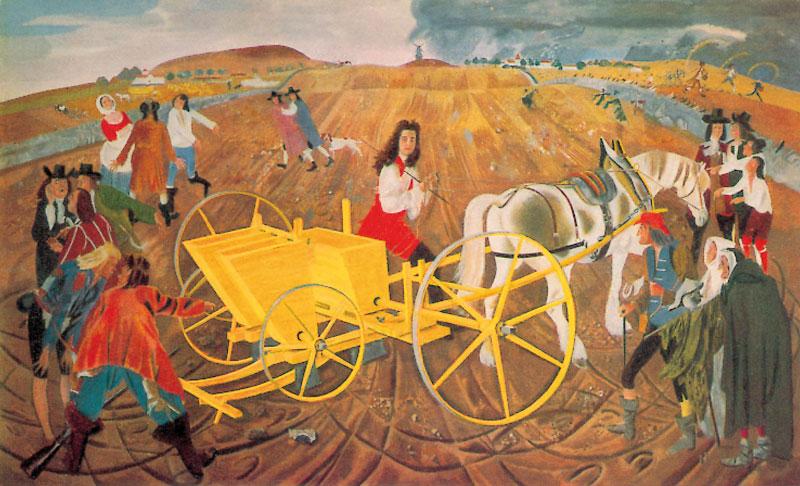 Mural en el que se presenta la prueba de la primera sembradora diseñada por Jethro Tull en el siglo XVIII. Museo de la Ciencia (UK).