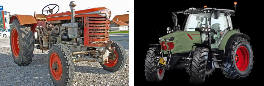 Tractores Hurlimann D90 (1959) y XL Stage IV de 140 CV actual