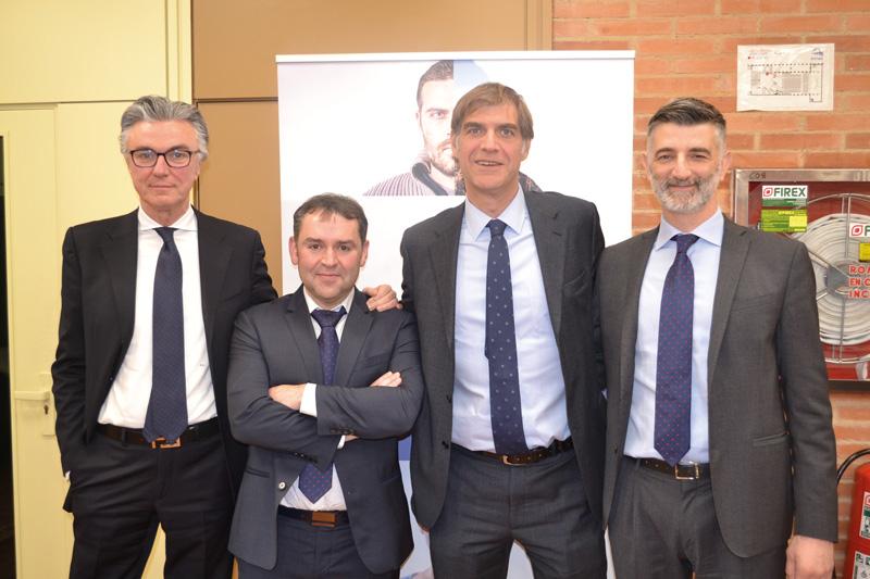 Rueda de prensa en FIMA de: Simeone Morra, Franco Artoni, Antonio Salvaterra y Andrés Moradas de Argotractors